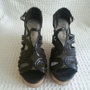 Fergie Faux Leather Brown Wedges